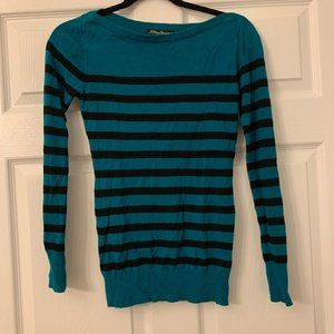 Striped Blue Teal Sweater Size M